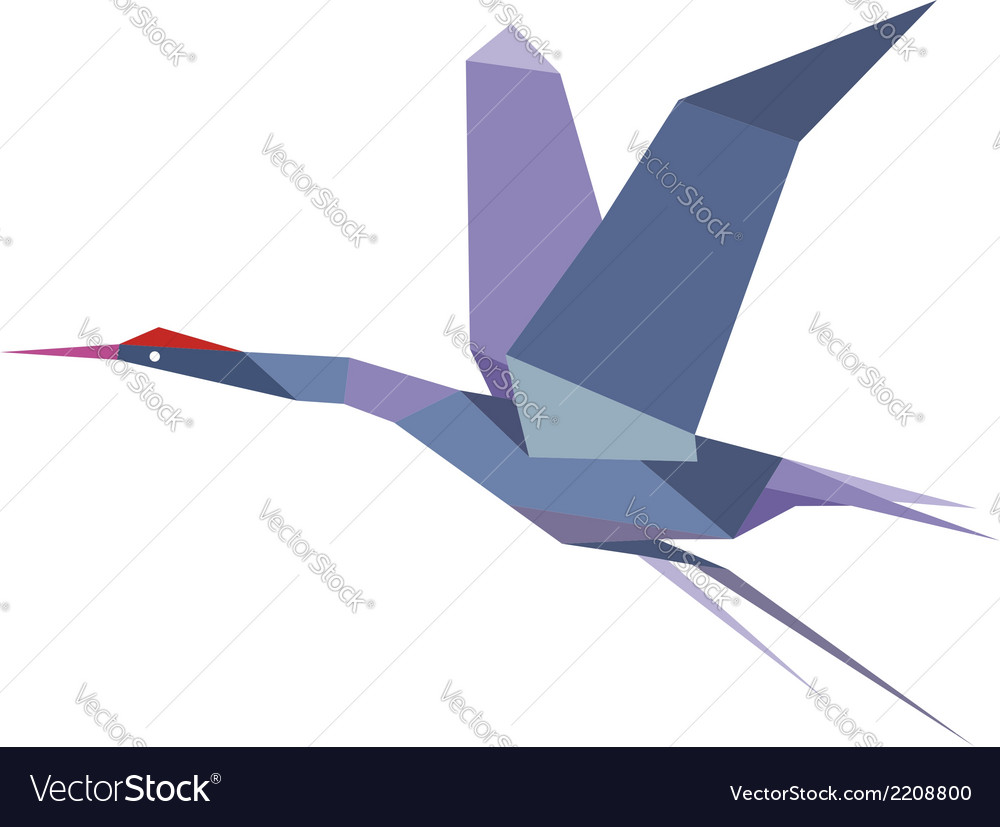 Elegant origami flying crane or heron vector | Price: 1 Credit (USD $1)