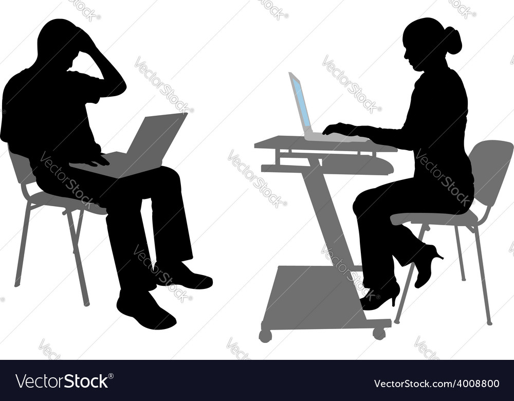 Man and woman with laptops vector | Price: 1 Credit (USD $1)