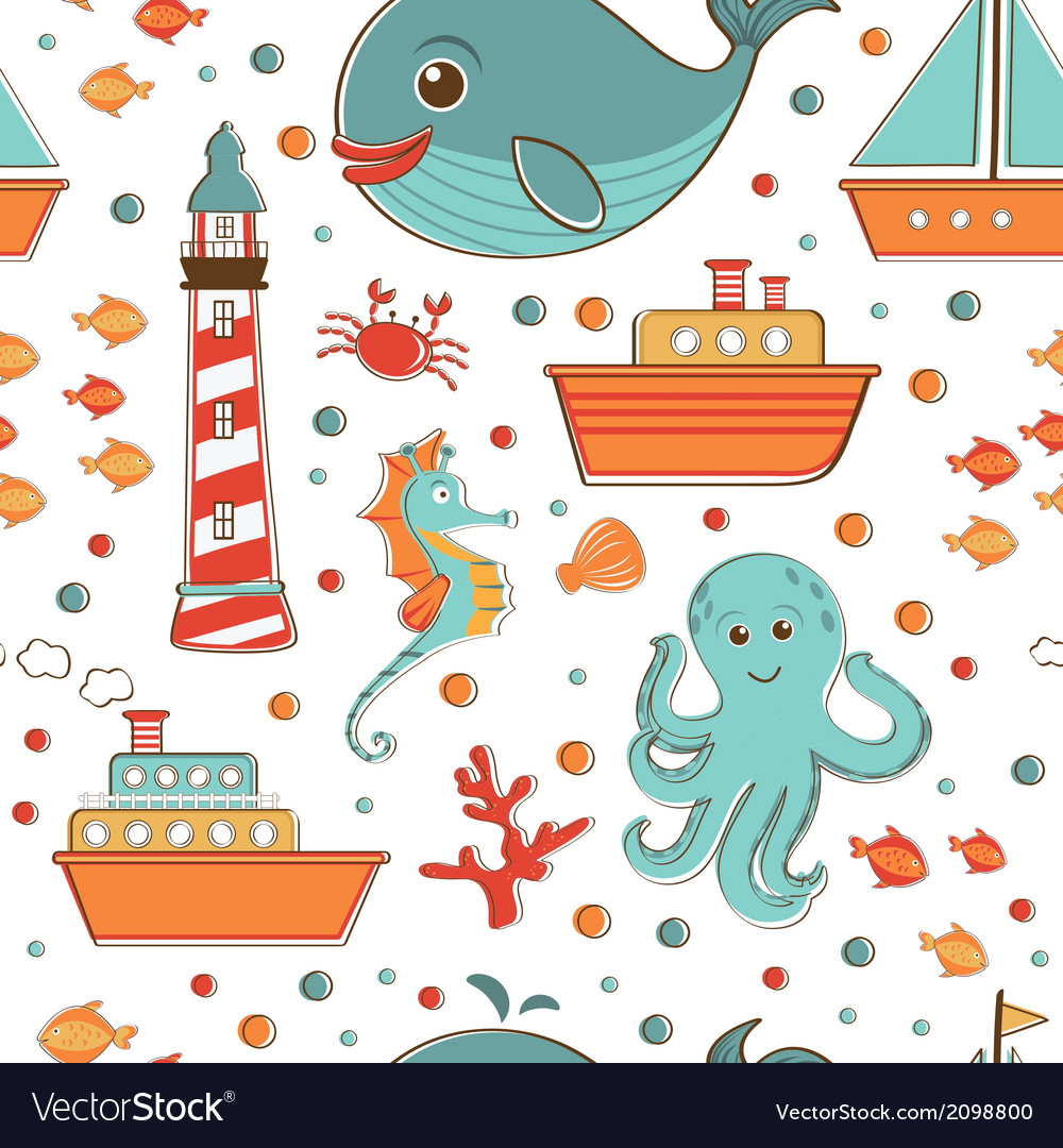 Marine seamless pattern with sea related items vector | Price: 1 Credit (USD $1)