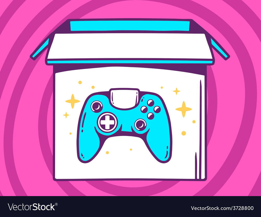 Open box with icon of joystick on pink p vector | Price: 1 Credit (USD $1)