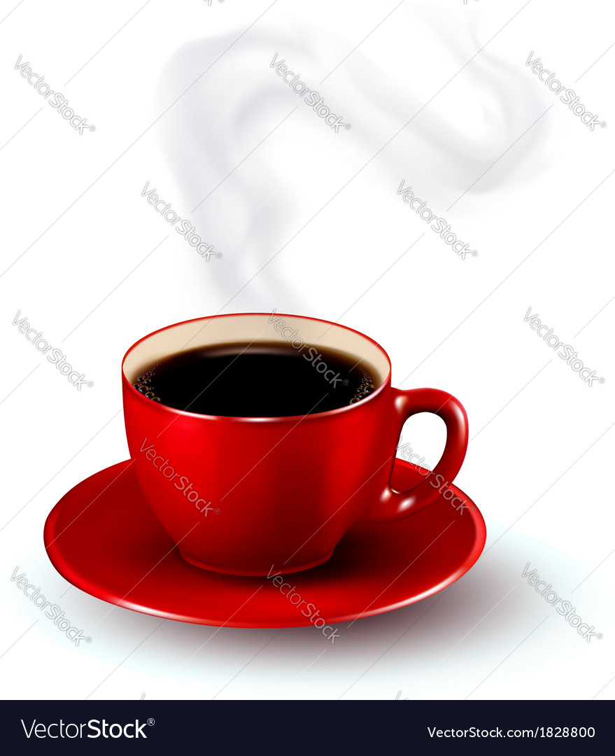 Perfect red cup of coffee with steam coffee design vector | Price: 1 Credit (USD $1)