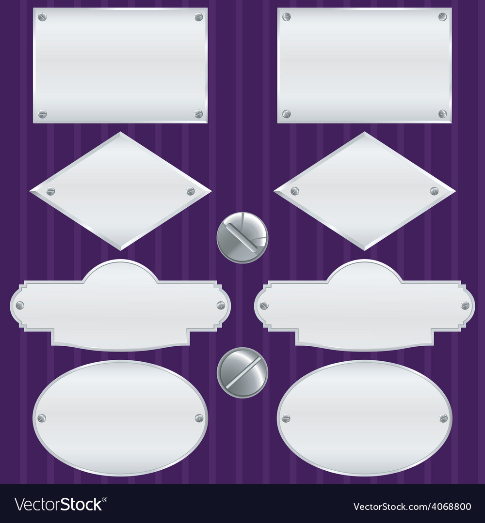 Silver nameplate set vector | Price: 1 Credit (USD $1)