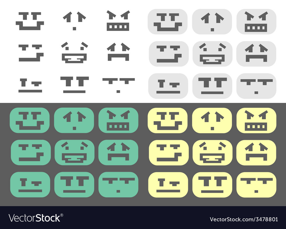 4 different emotions smiles set vector | Price: 1 Credit (USD $1)