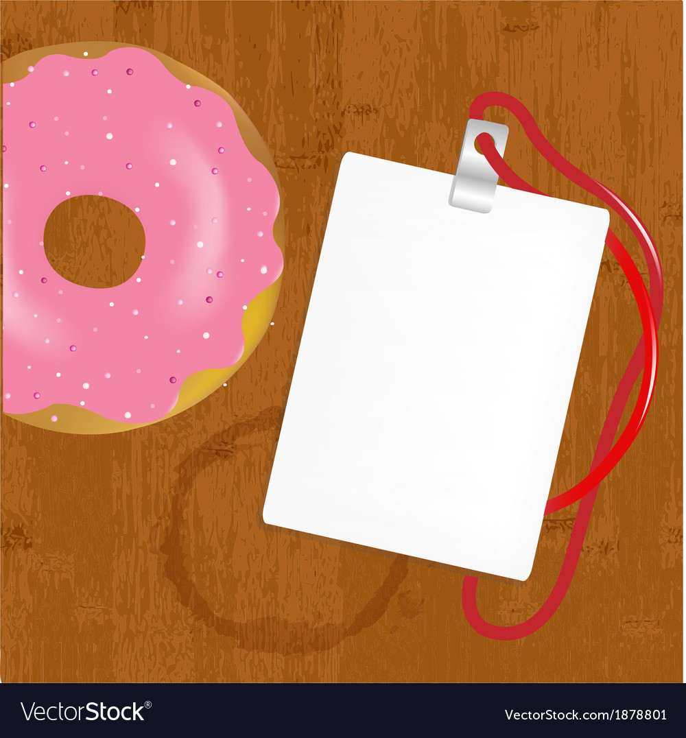 Badge with donuts on wooden vector | Price: 1 Credit (USD $1)