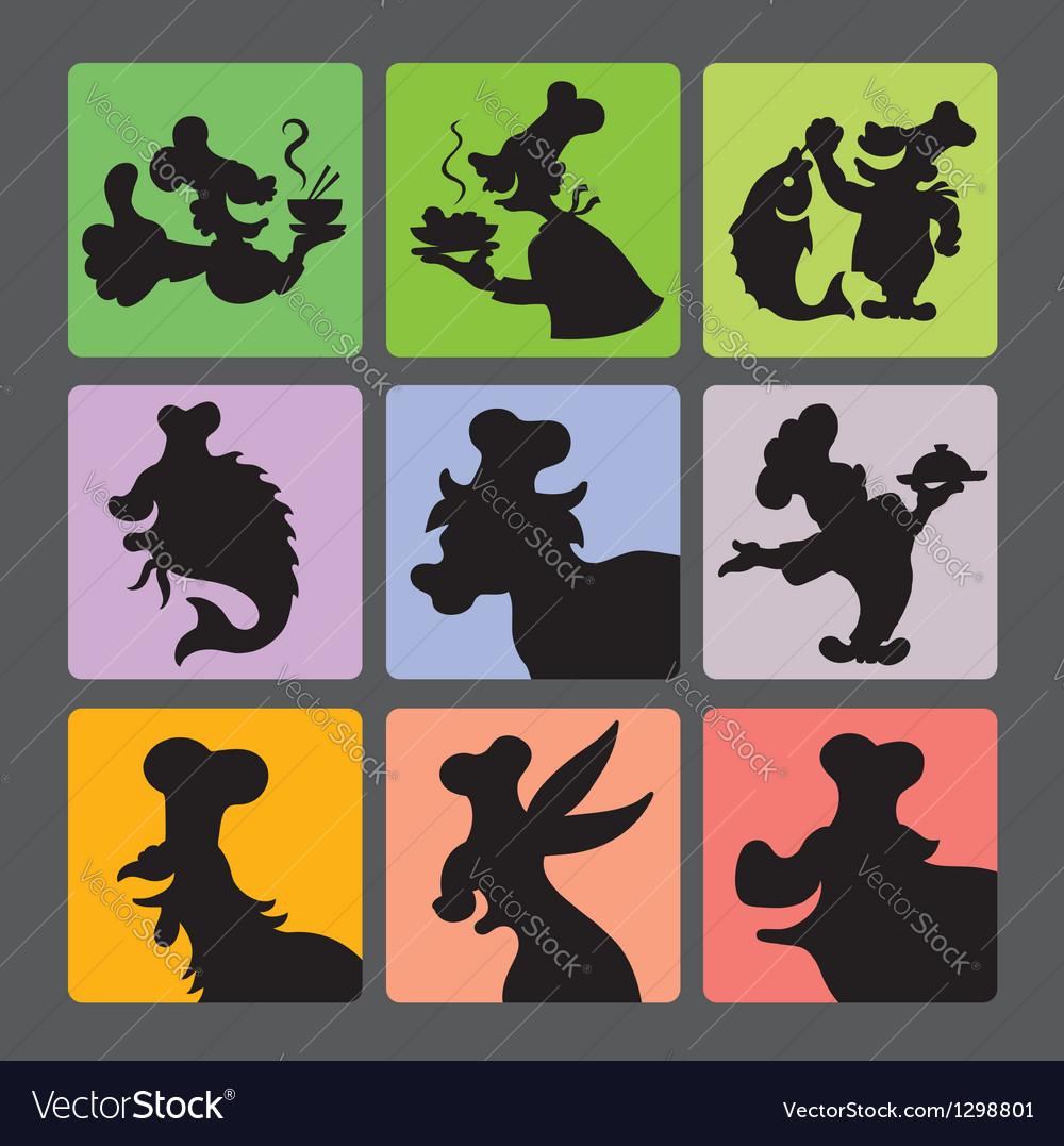 Chef silhouette symbols vector | Price: 1 Credit (USD $1)