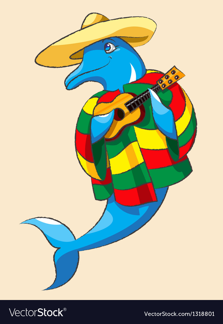 Dolphin and guitar vector | Price: 1 Credit (USD $1)