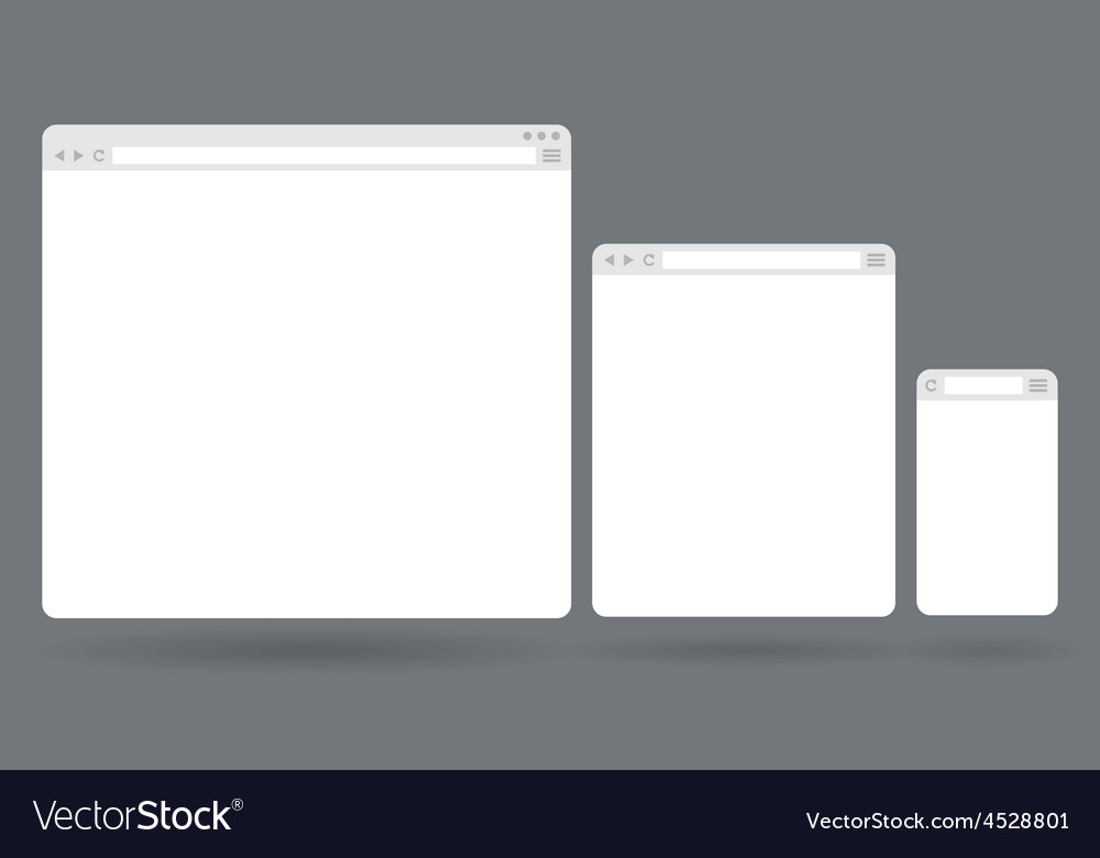 Flat blank browser windows for different devices vector | Price: 1 Credit (USD $1)