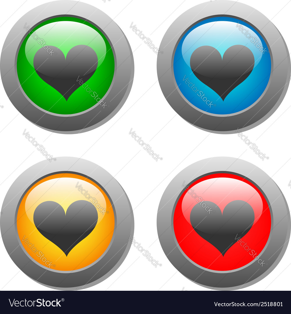 Heart icons buttons vector | Price: 1 Credit (USD $1)