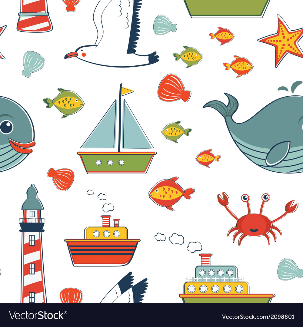 Marine pattern vector | Price: 1 Credit (USD $1)