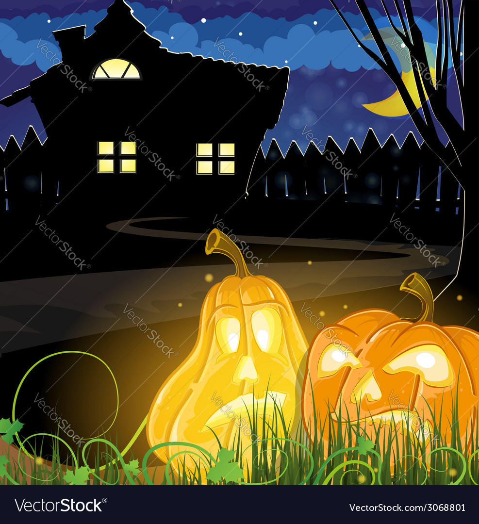 Pumpkins near a haunted house vector | Price: 1 Credit (USD $1)