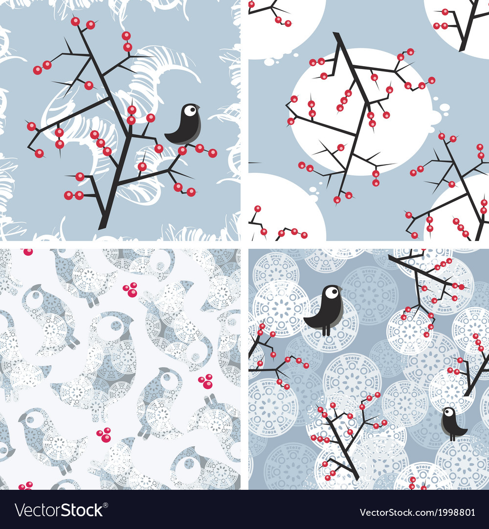 Set of seamless winter patterns with birds vector | Price: 1 Credit (USD $1)