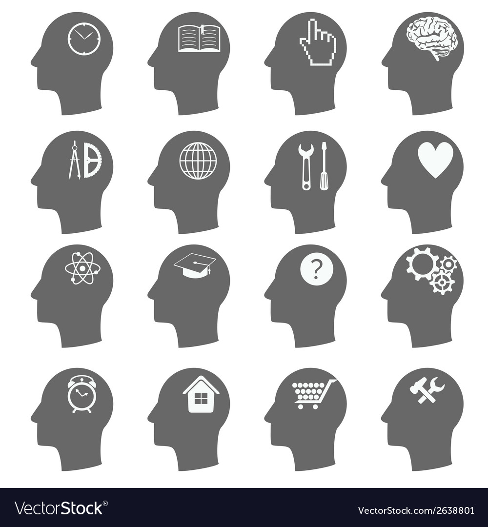 Thinking heads icons vector | Price: 1 Credit (USD $1)