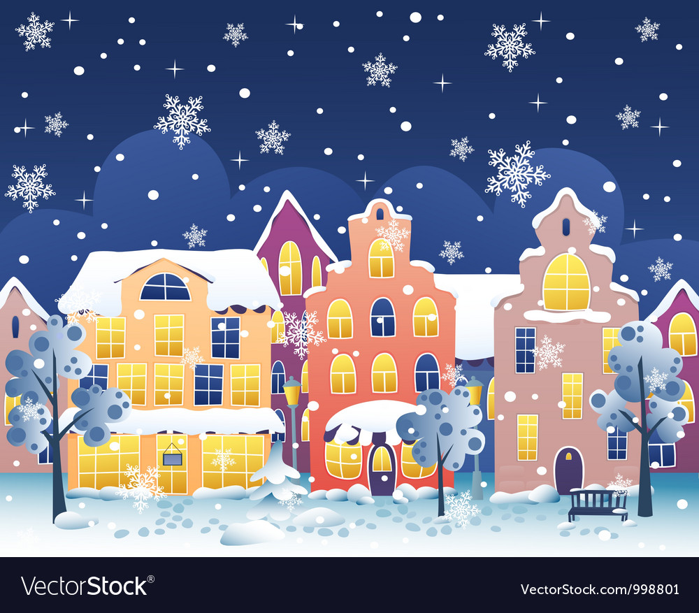 Winter night street vector | Price: 1 Credit (USD $1)
