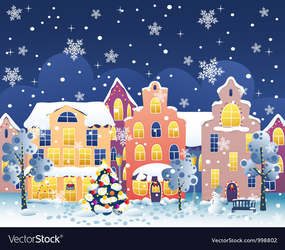 Christmas street vector | Price: 1 Credit (USD $1)
