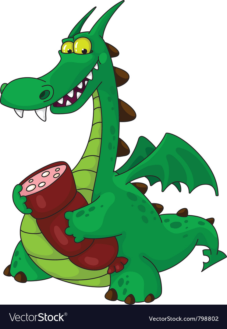 Dragon with sausage vector | Price: 3 Credit (USD $3)