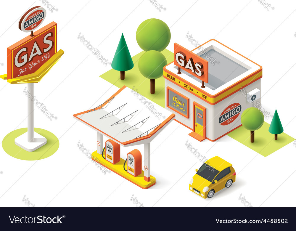 Gas filling station vector | Price: 3 Credit (USD $3)