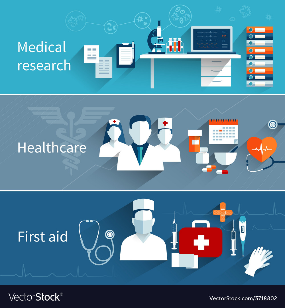 Medical flat banners vector | Price: 1 Credit (USD $1)