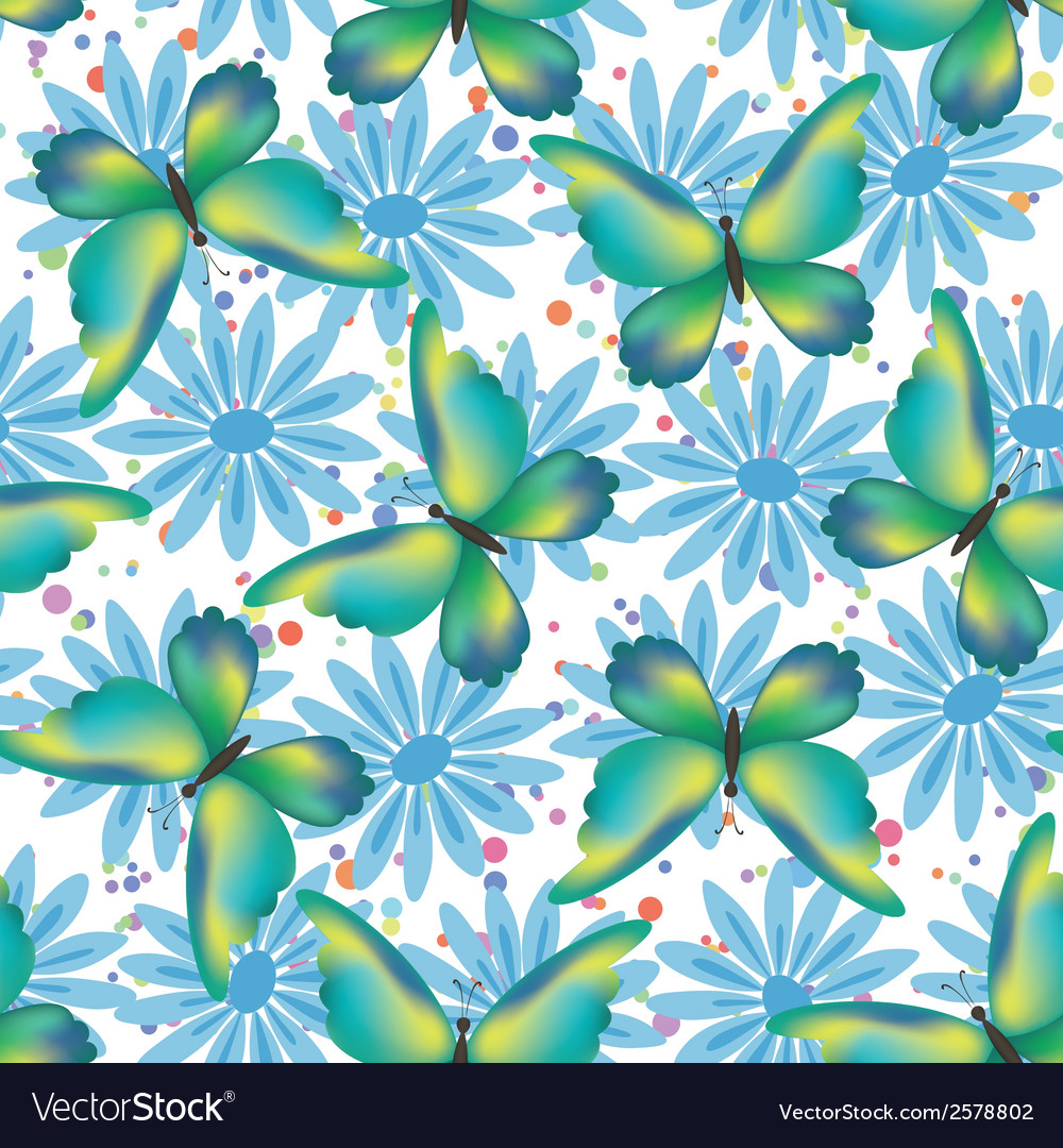 Seamless pattern butterflies and flowers vector | Price: 1 Credit (USD $1)