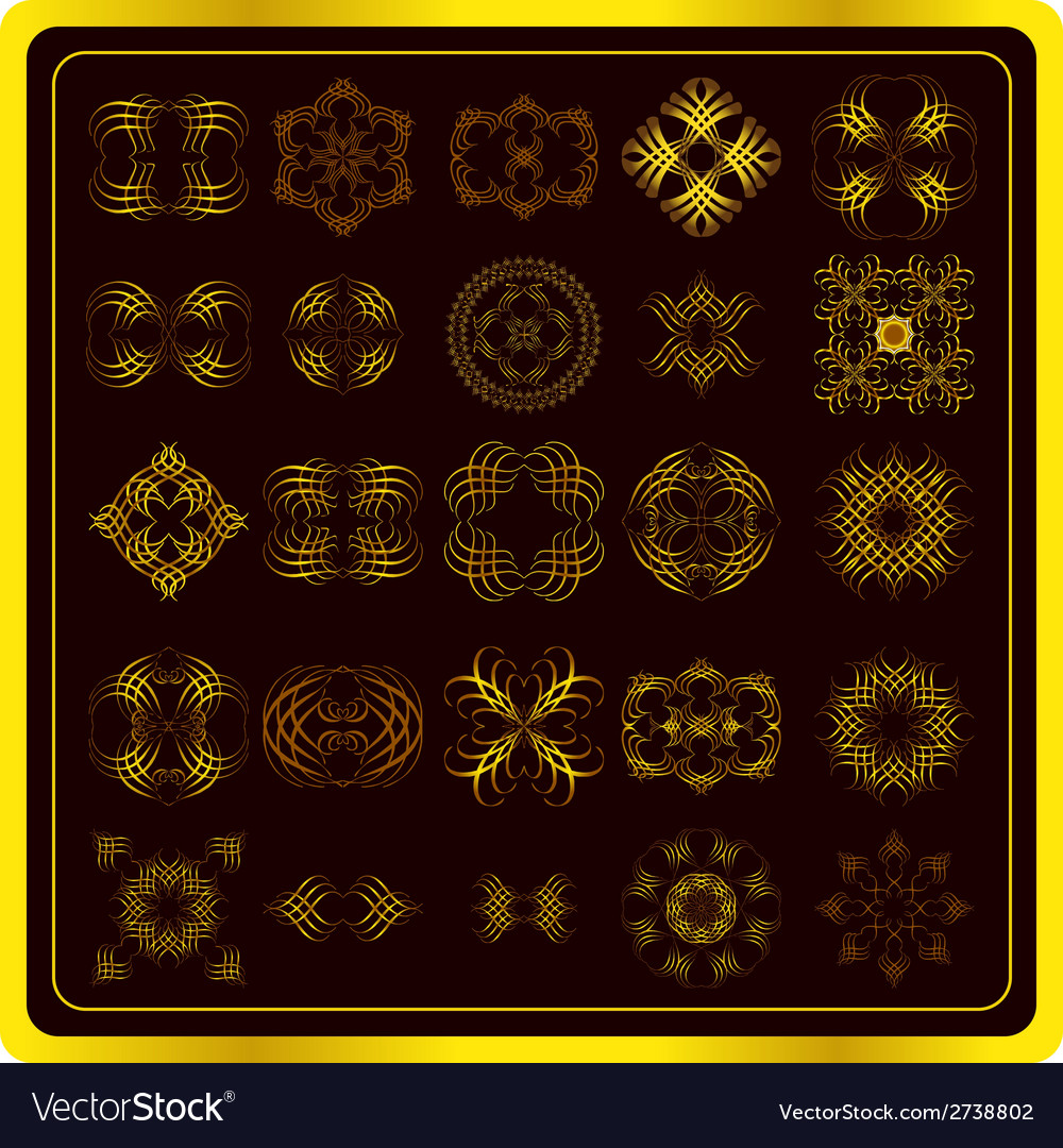 Set of fine gold elements vector | Price: 1 Credit (USD $1)