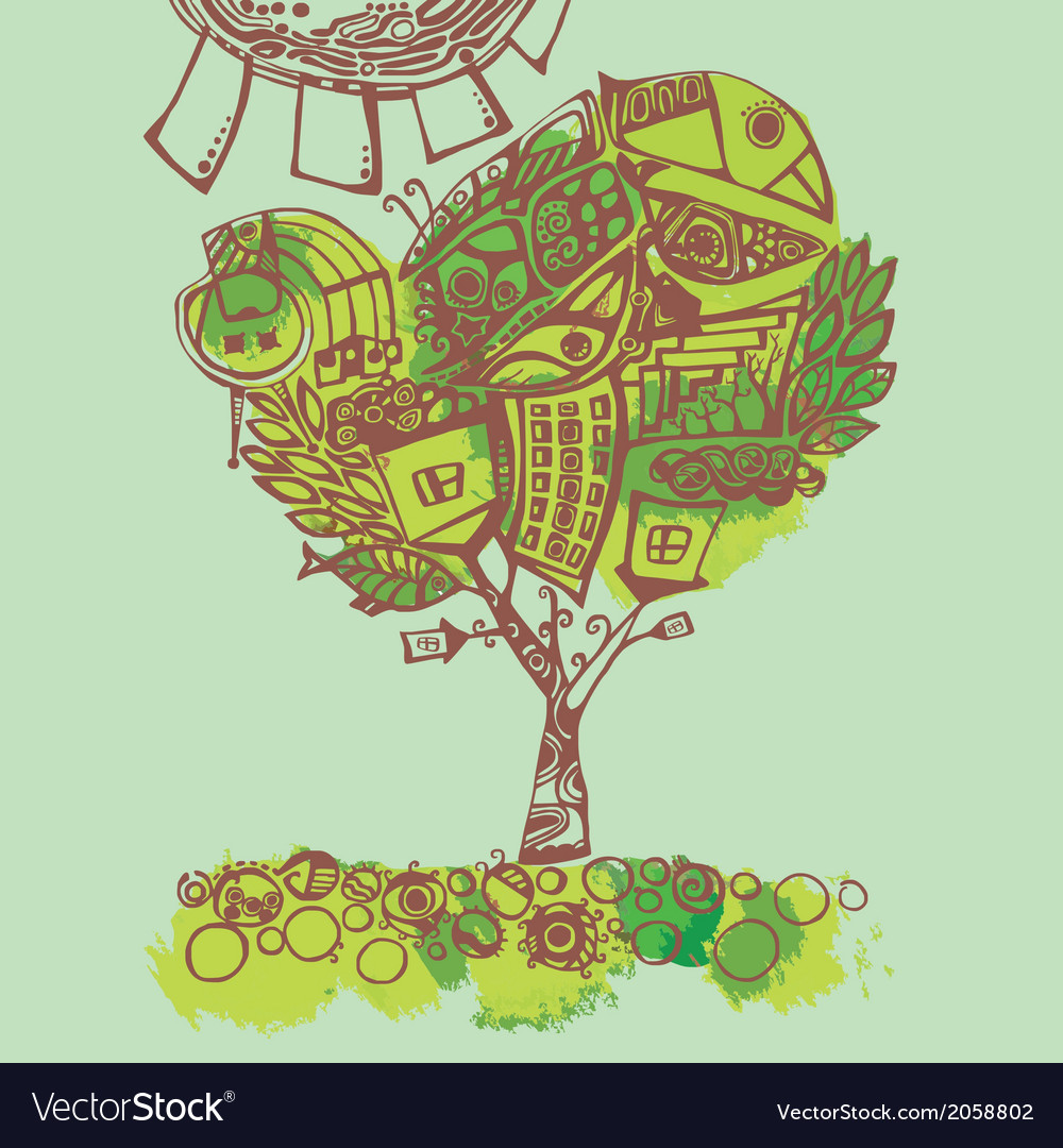 Spring tree stylized vector | Price: 1 Credit (USD $1)