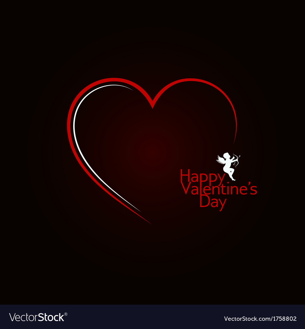 Valentines day red heart angel background vector | Price: 1 Credit (USD $1)
