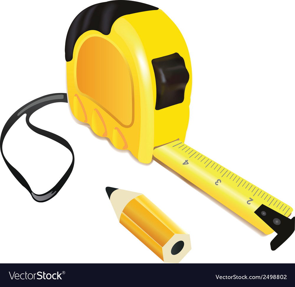 Yellow roulette measure building tool with pencil vector | Price: 1 Credit (USD $1)
