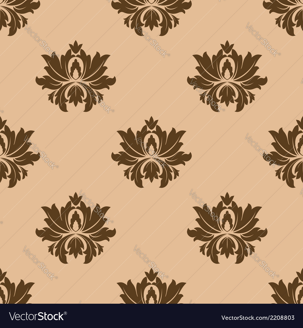 Beige seamless floral pattern background vector | Price: 1 Credit (USD $1)