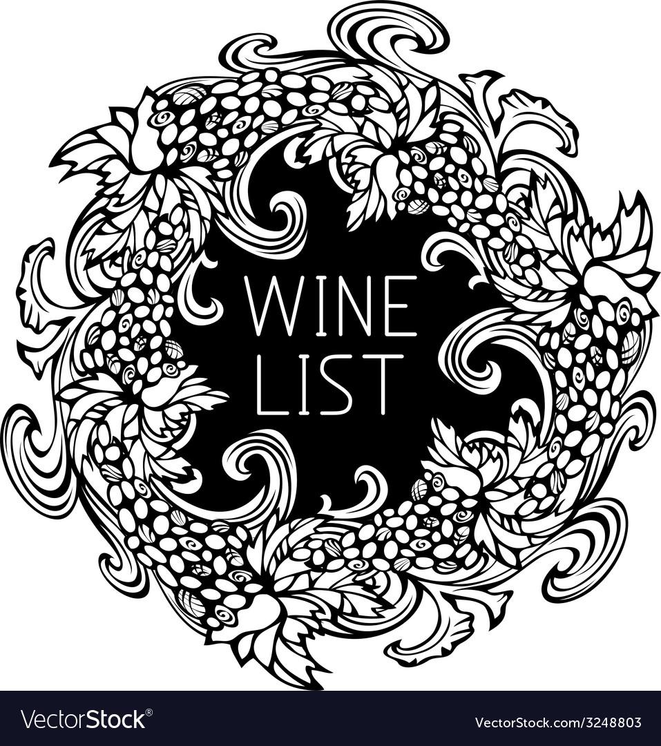 Black and white wine list design vector | Price: 1 Credit (USD $1)