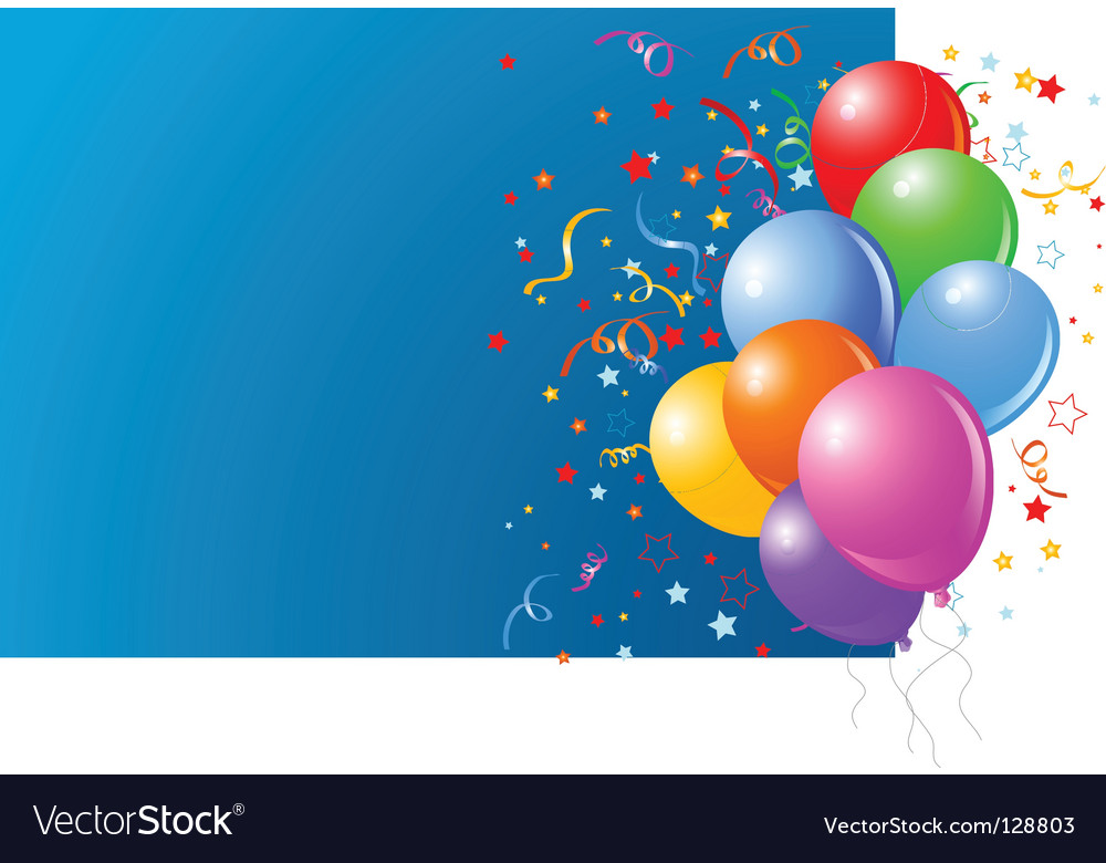 Blue card with colorful balloons vector | Price: 1 Credit (USD $1)