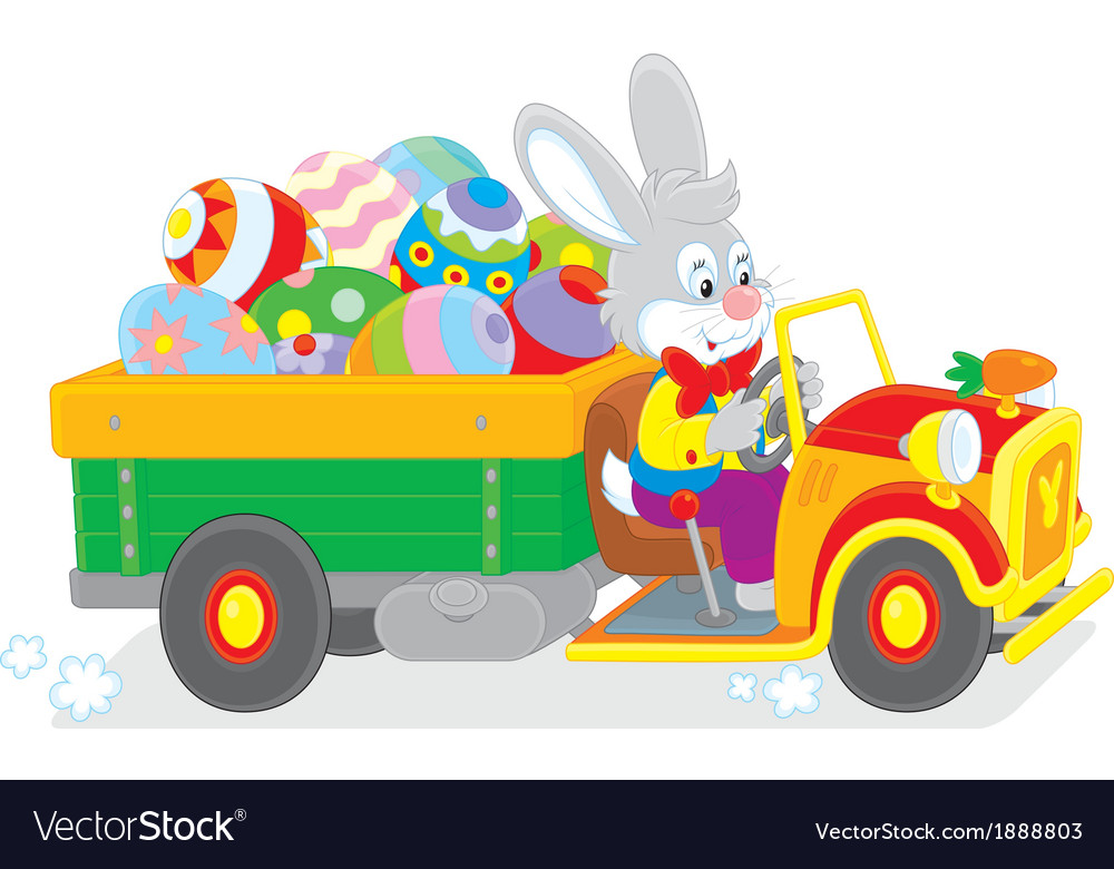 Bunny carries ester eggs vector | Price: 3 Credit (USD $3)