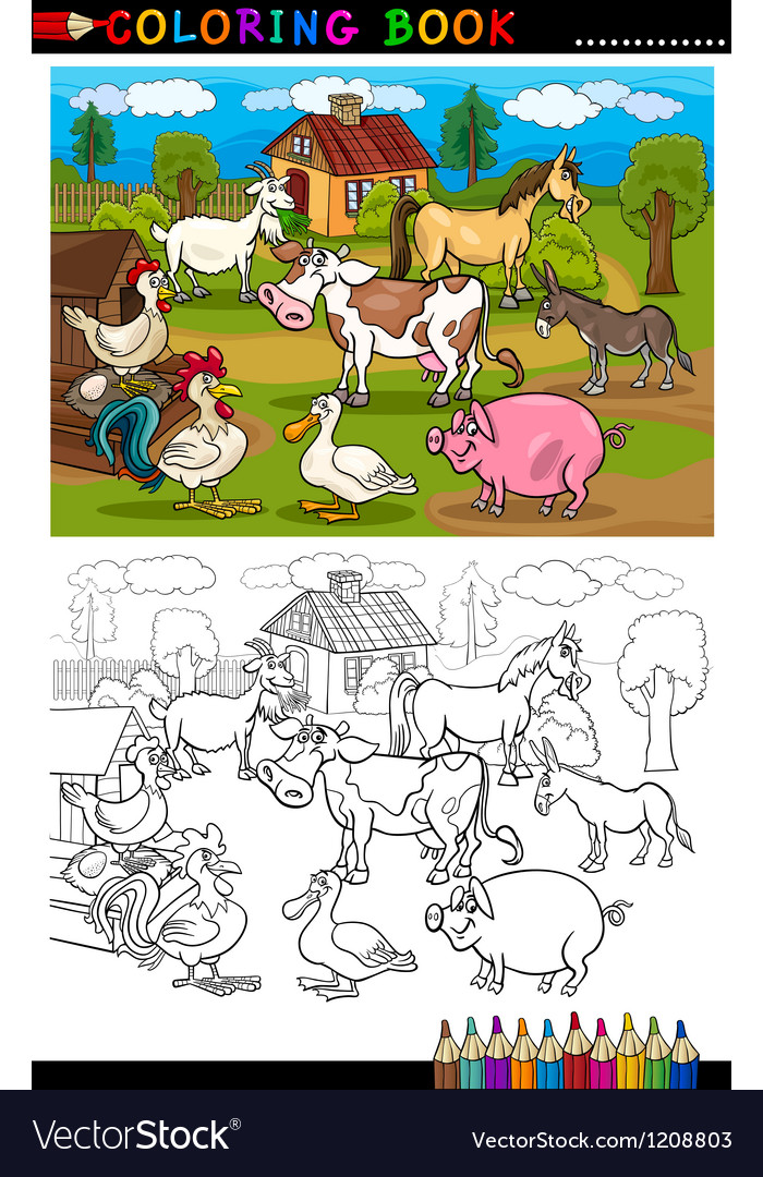 Cartoon farm and livestock animals for coloring vector | Price: 3 Credit (USD $3)