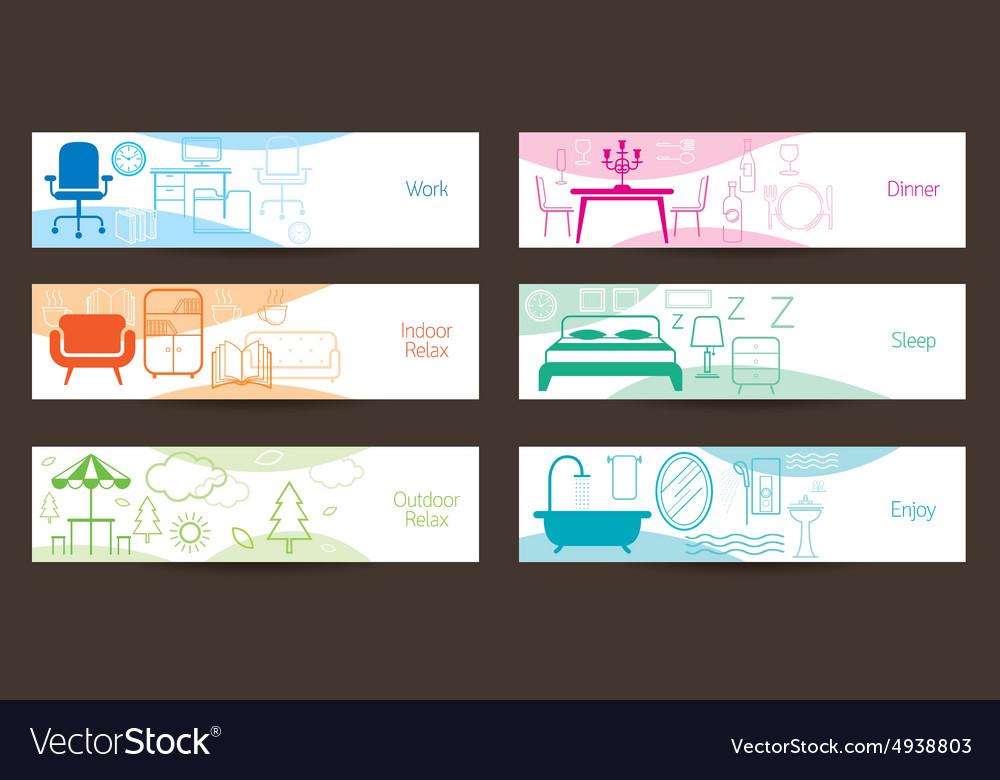 Furniture concept banner vector