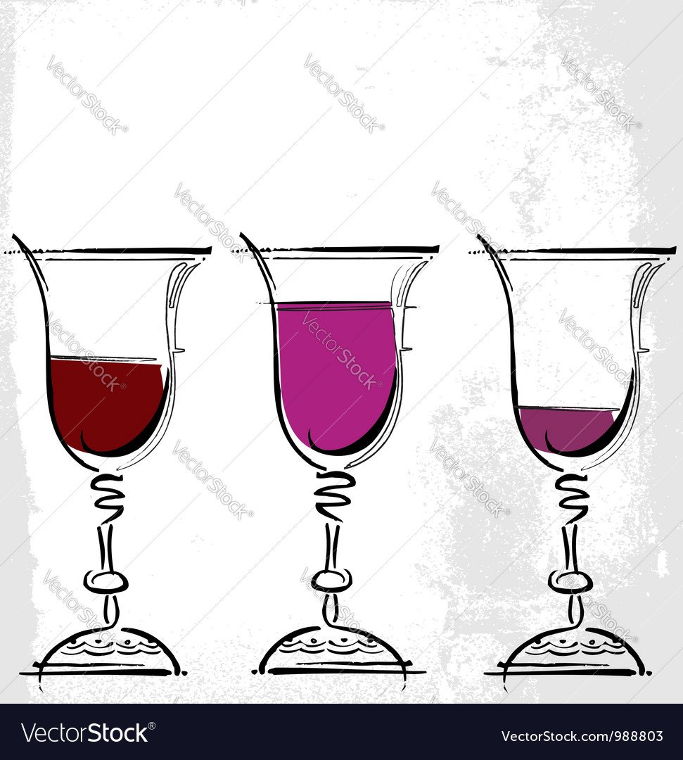 Glasses of wine vector | Price: 1 Credit (USD $1)