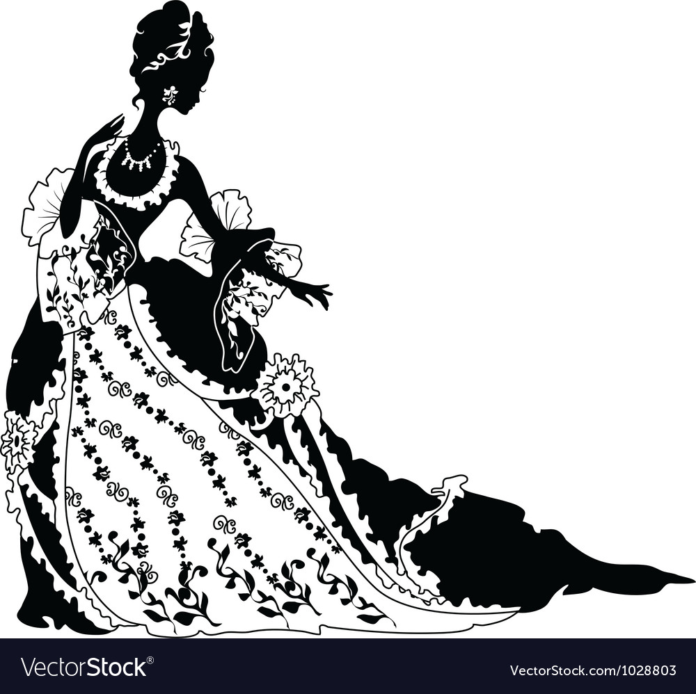 Graphic silhouette of a rococo woman vector | Price: 1 Credit (USD $1)