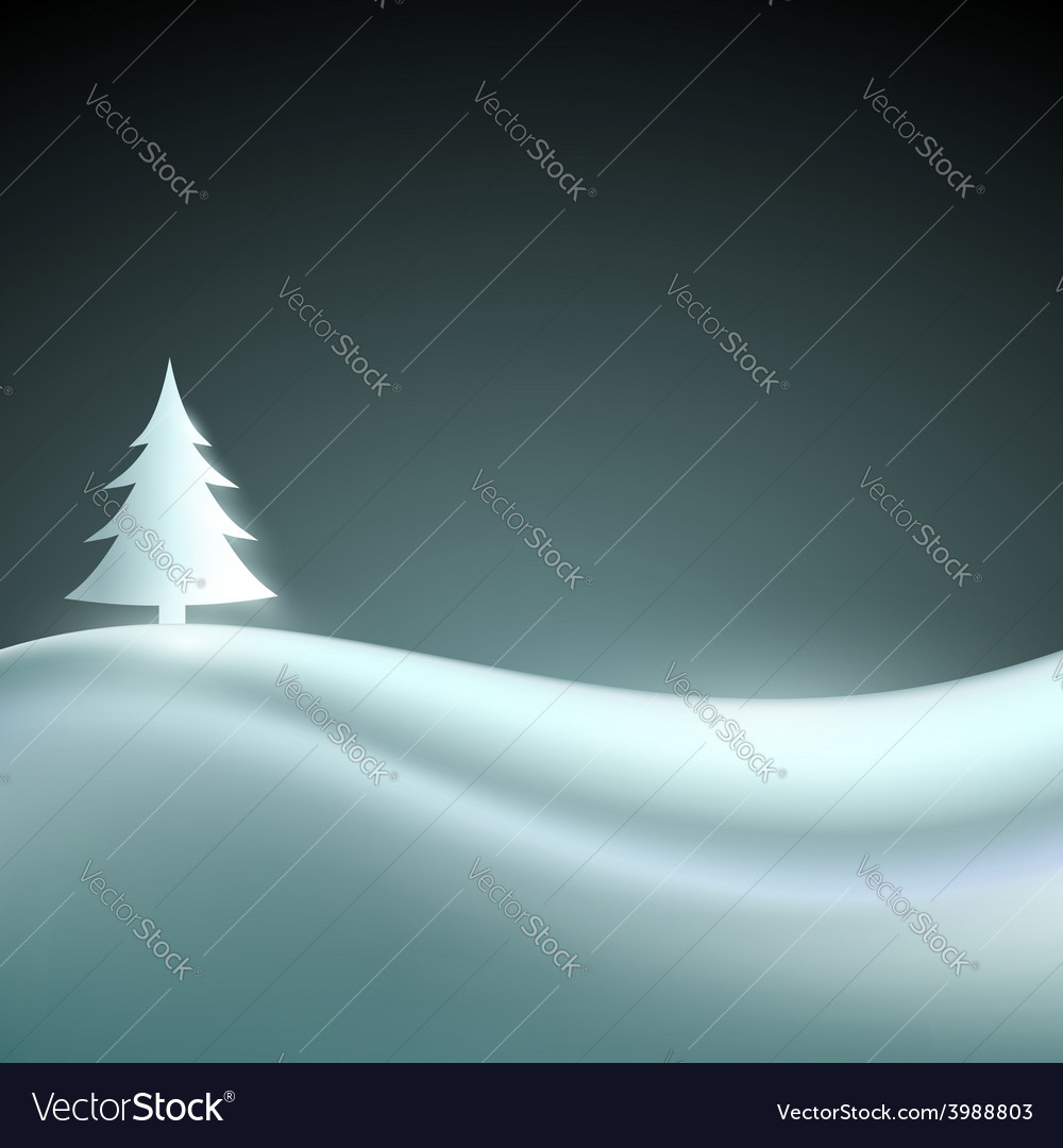 Landscape with christmas tree vector | Price: 1 Credit (USD $1)