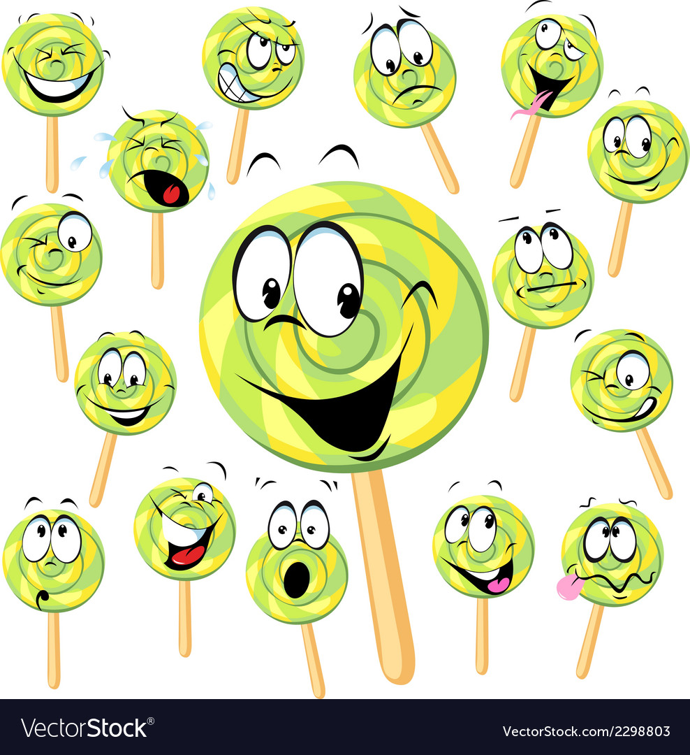 Lollipop cartoon with many expressions isolated on vector | Price: 1 Credit (USD $1)