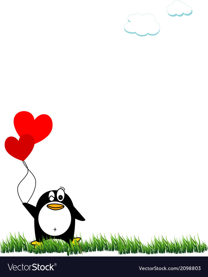 Panguin and balloon vector | Price: 1 Credit (USD $1)