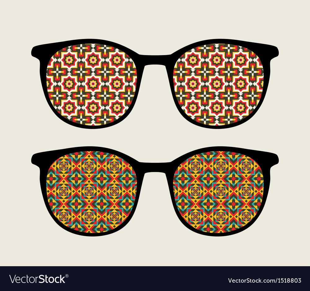 Retro sunglasses with ornament reflection in it vector | Price: 1 Credit (USD $1)
