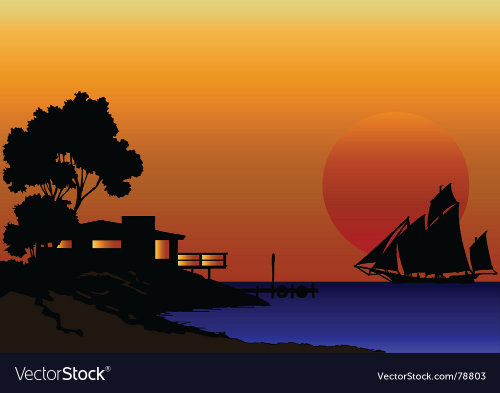 Shore line house vector | Price: 1 Credit (USD $1)