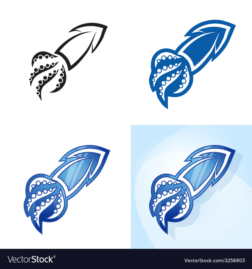 Stylized squid set vector | Price: 1 Credit (USD $1)