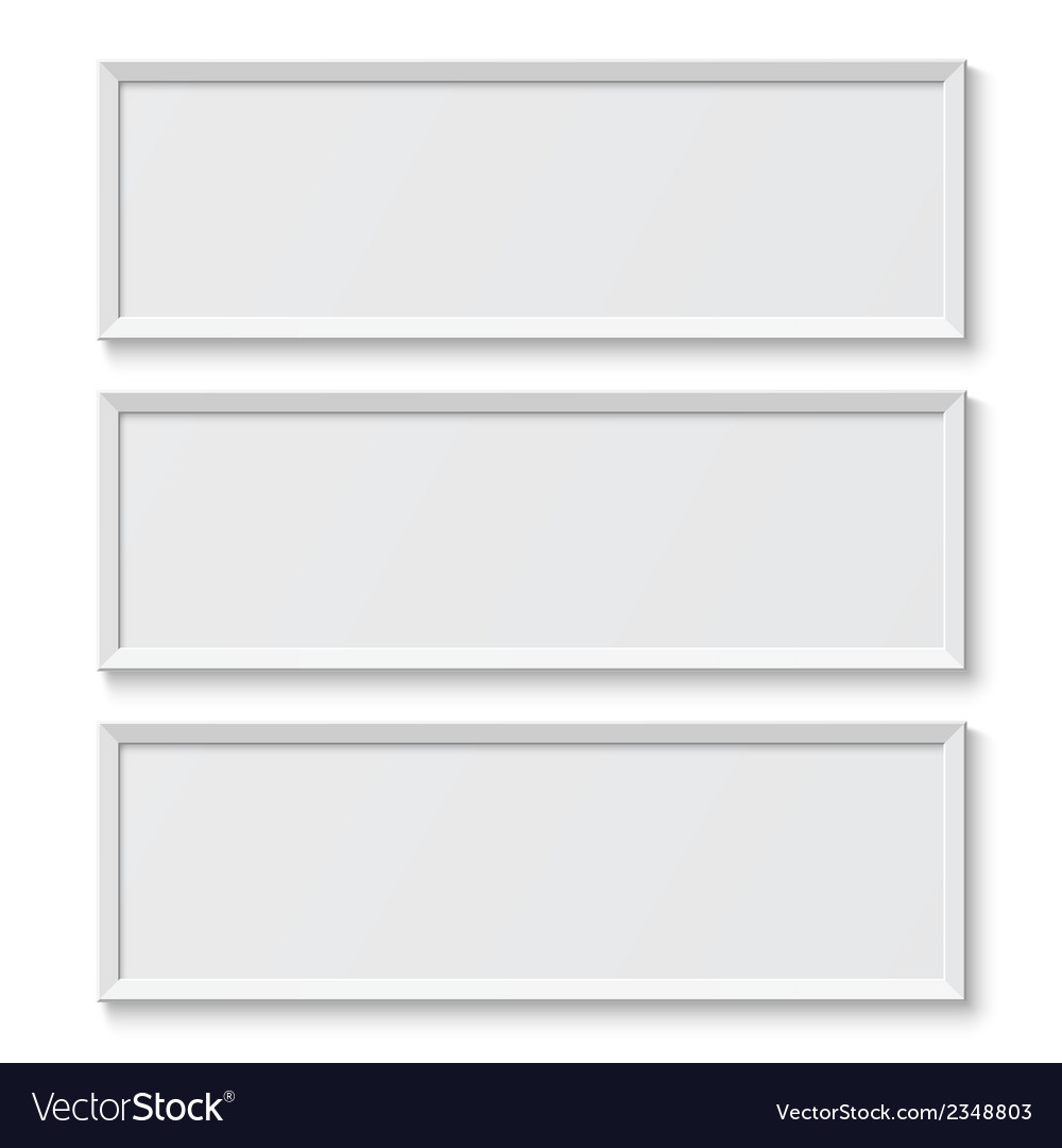 White picture frames isolated on white background vector | Price: 1 Credit (USD $1)