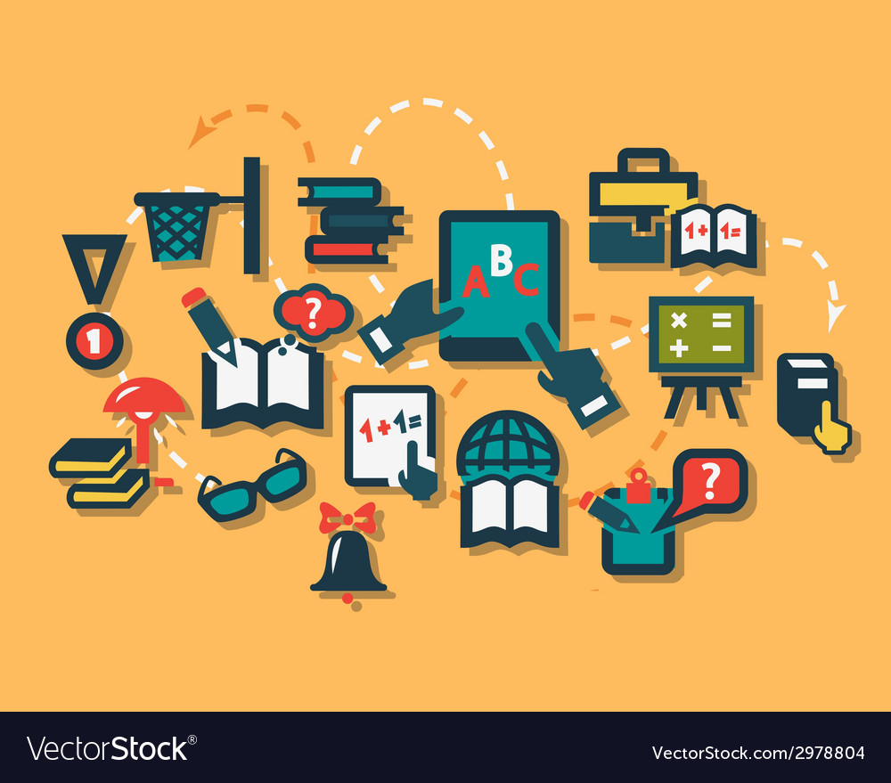 Education flat icons vector | Price: 1 Credit (USD $1)