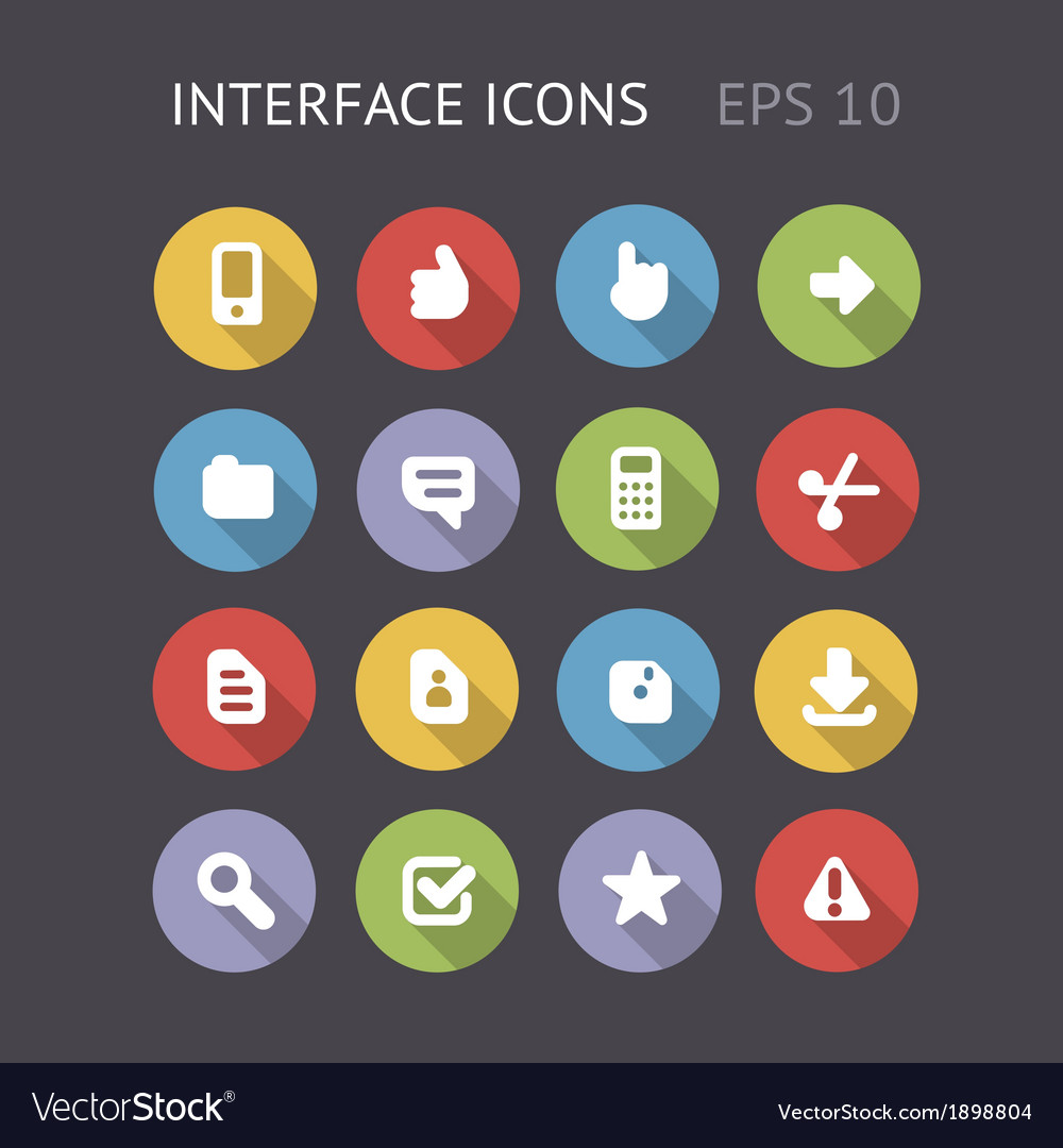 Flat icons for interface vector | Price: 1 Credit (USD $1)