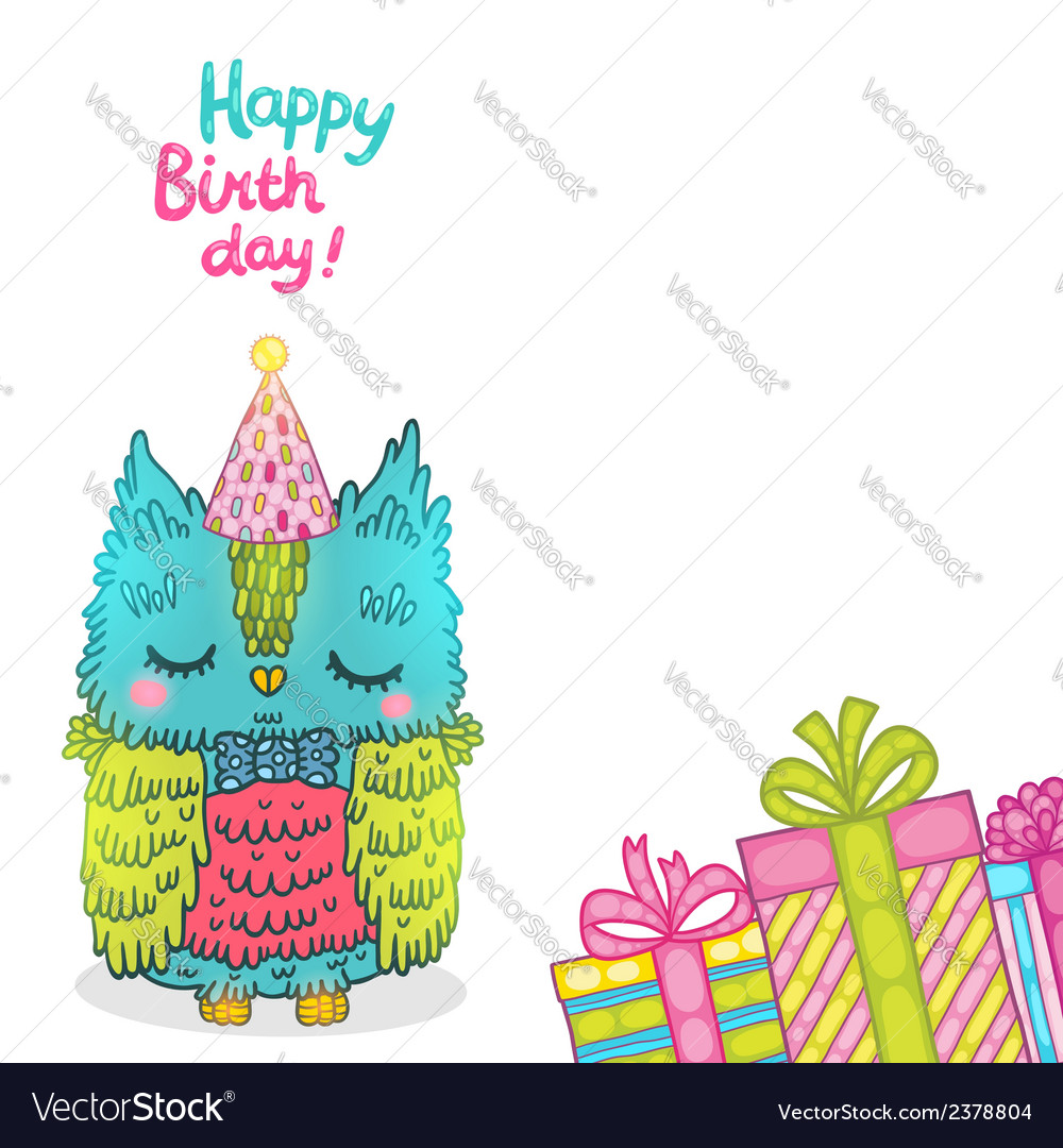 Happy birthday greeting background with an owl vector | Price: 1 Credit (USD $1)
