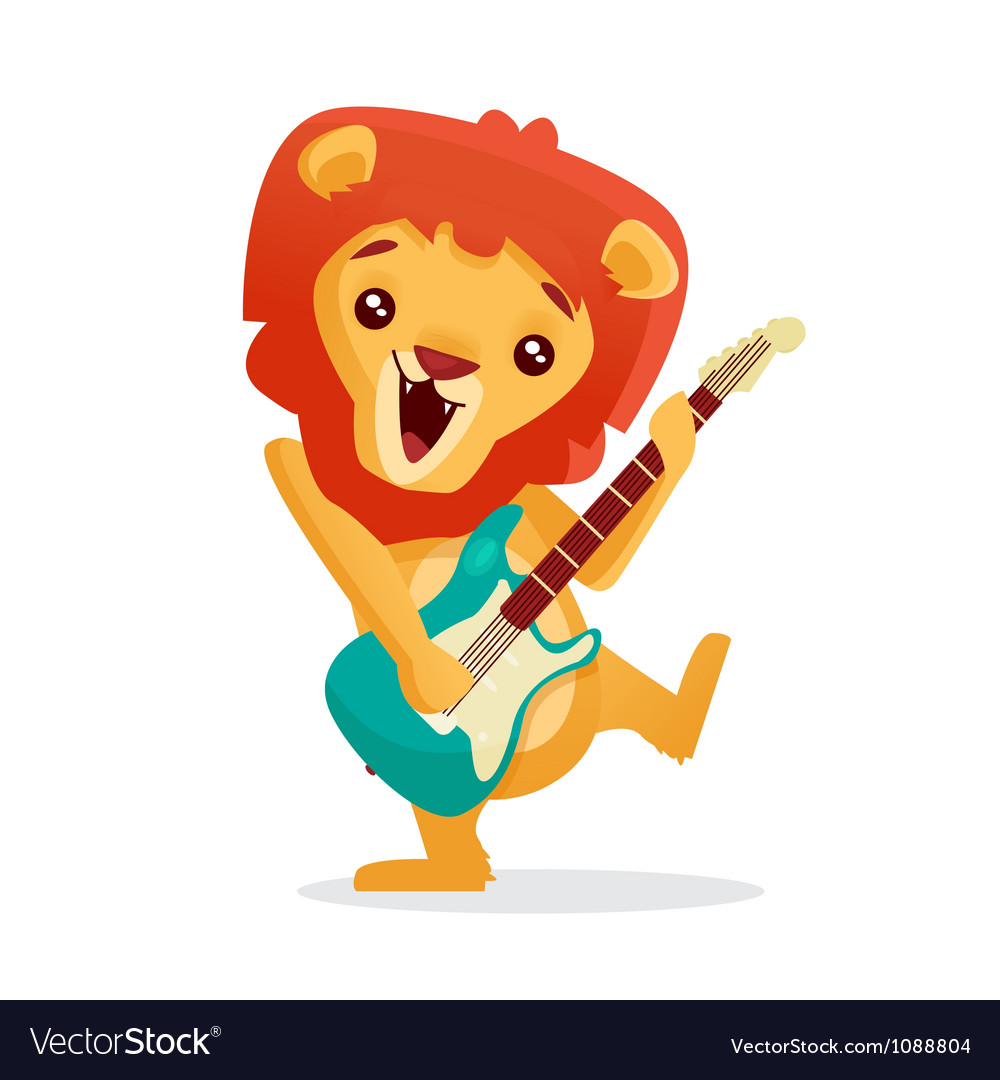 Musical animals lion guitar vector | Price: 1 Credit (USD $1)