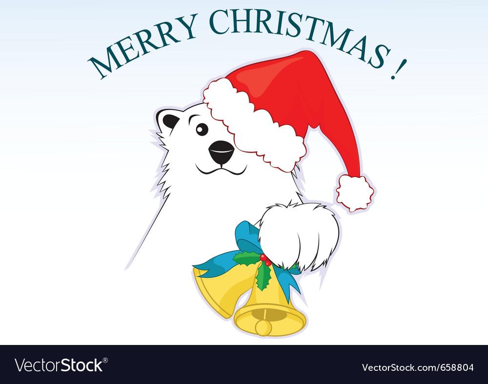 Polar bear with a red santa claus cap vector | Price: 1 Credit (USD $1)
