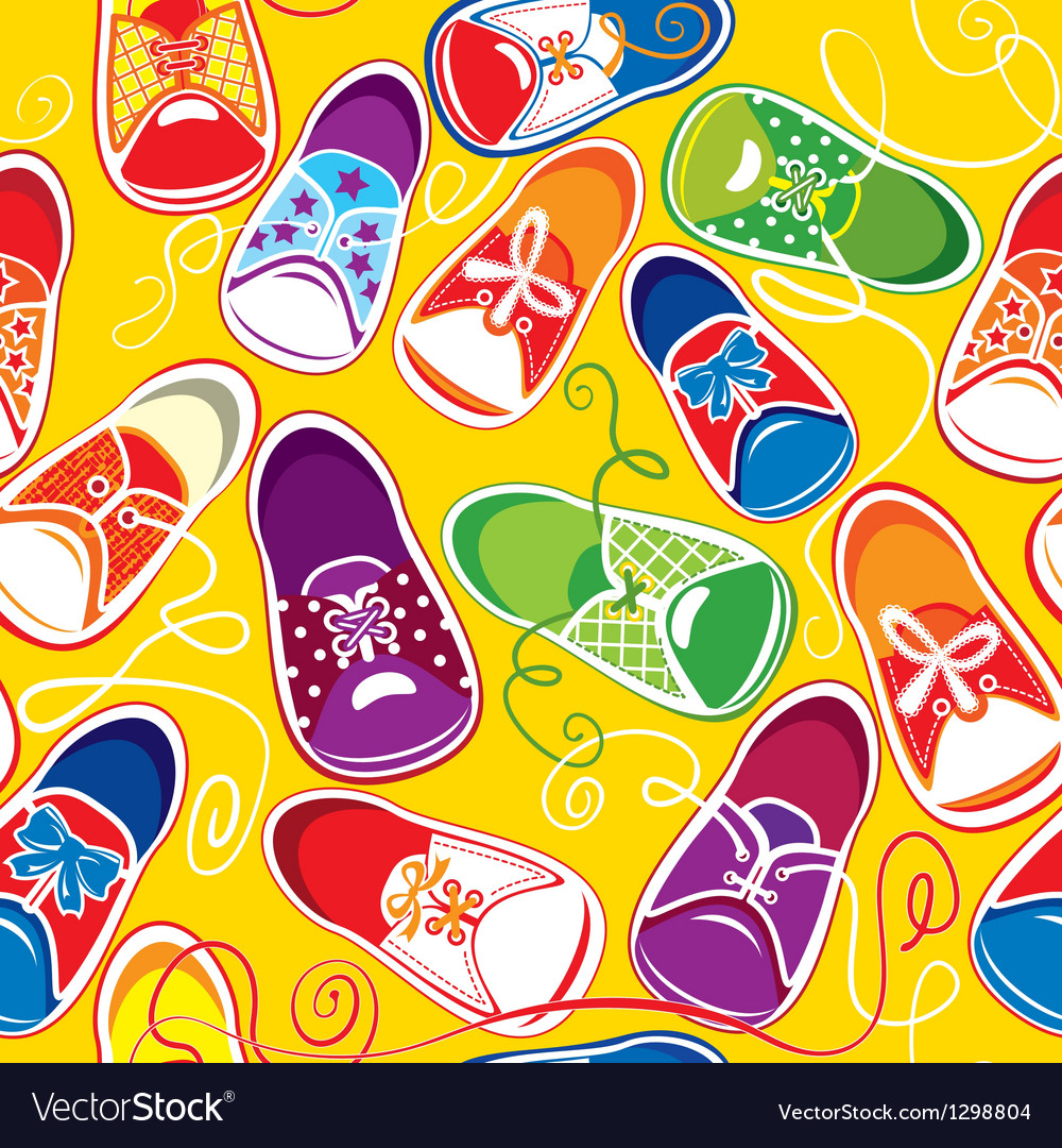Seamless pattern - colored children gumshoes vector   Price: 1 Credit (USD $1)