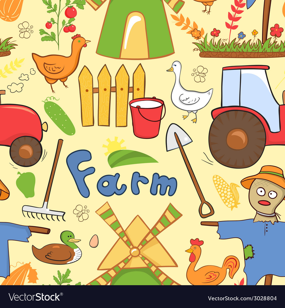 Seamless pattern farm elements in doodle style vector | Price: 1 Credit (USD $1)