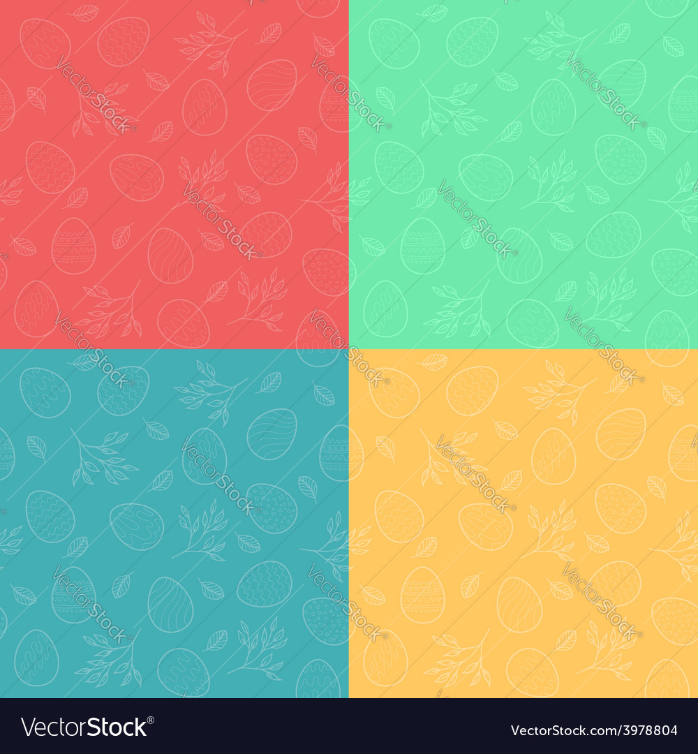 Seamless patterns with easter eggs vector | Price: 1 Credit (USD $1)