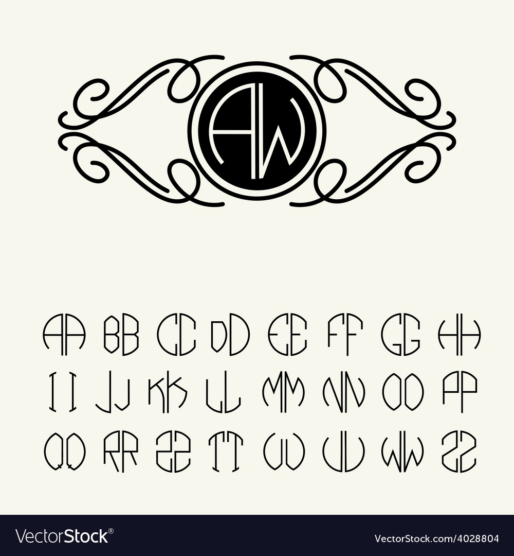 Template letters to create monograms vector | Price: 1 Credit (USD $1)